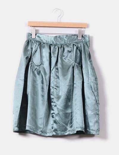 Jupe verte de soie irisée à poches Laorange