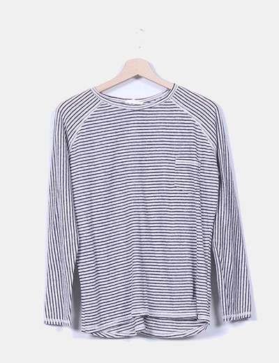 Suéter lino gris rayas negras Zara