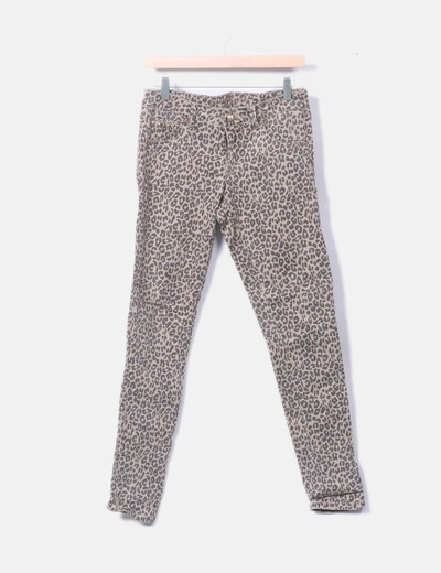 Pantalón denim beige animal print