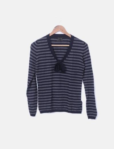 Jersey tricot de rayas gris y azul marino