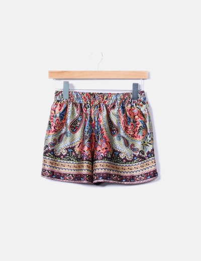 Short estampado cachemira tacto seda