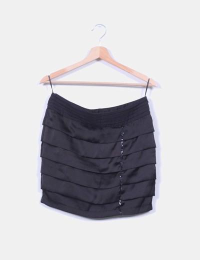 Falda negra tablas con tira de lentejuelas NoName
