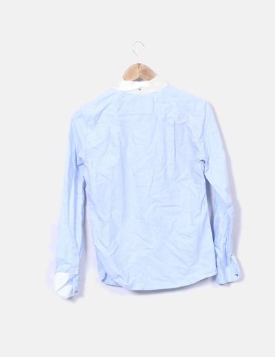 c7004da98 Bershka Camisa azul bordes blancos (descuento 78%) - Micolet