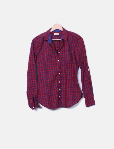 mujer cliente primero estilo de moda Camisa de cuadros roja y azul