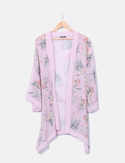 Kimono rose imprimé en mousseline de soie Stradivarius