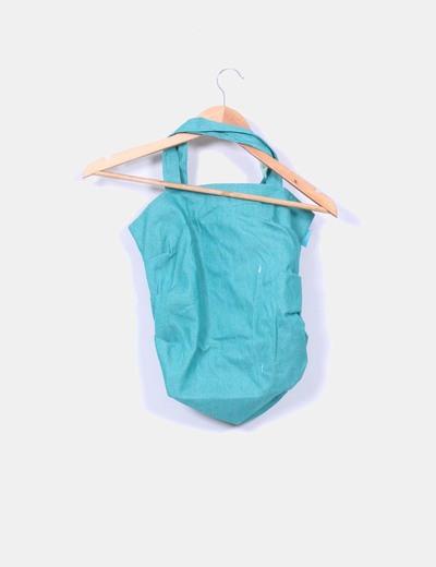 Bolso de tela verde con pailettes