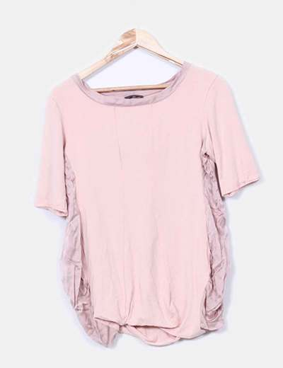 Top rosa tejidos combinados  Dinou