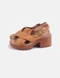 Sandalias plataforma antelina marrón Shif Store