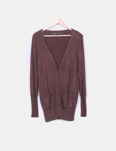Cardigan tricot marron oscuro
