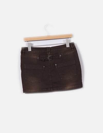 Mini falda vaquera marron
