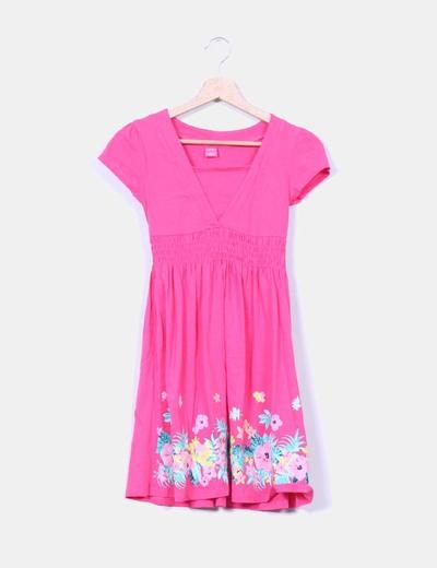 Vestido rosa fucsia con estampado floral NoName