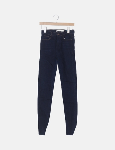 Pantalón pitillo tiro alto azul