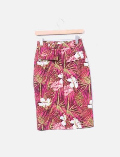 super barato se compara con estilos frescos disfruta del precio de descuento Falda lápiz rosa floral