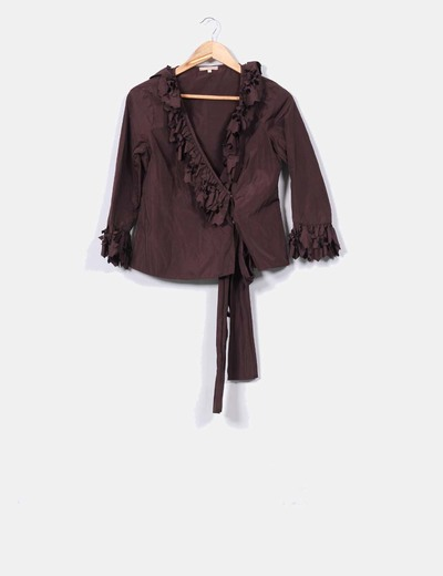 Blusa marrón troquelada Merry-Hat
