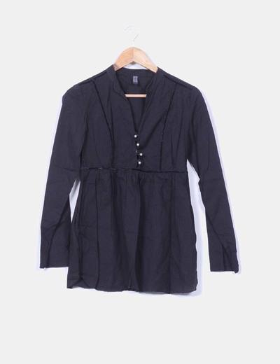 Blusa negra con detalles terciopelo Only