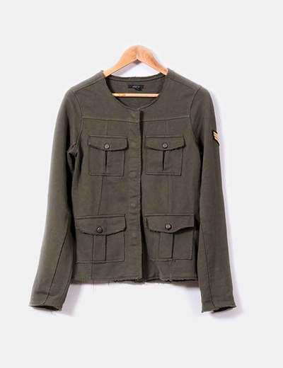 moda mejor valorada fotos oficiales salida para la venta chaqueta cuatro bolsillos verde militar