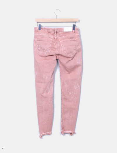 Jeans denim rosa desflecado