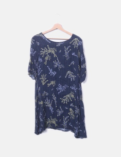 Vestido azul marino floral