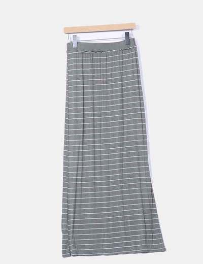 Falda maxi verde con rayas