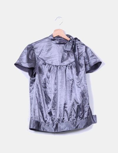 Blusa raso gris marengo Zara