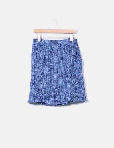 Jupe bleue texturé midi Sfera