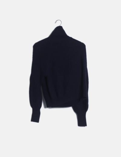 Jersey tricot azul cuello vuelto