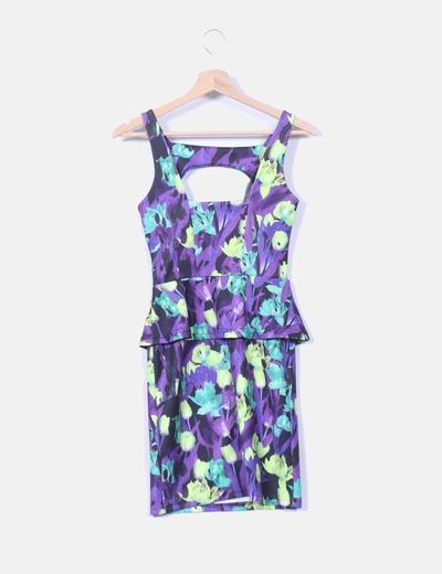 Vestido morado floral con peplum
