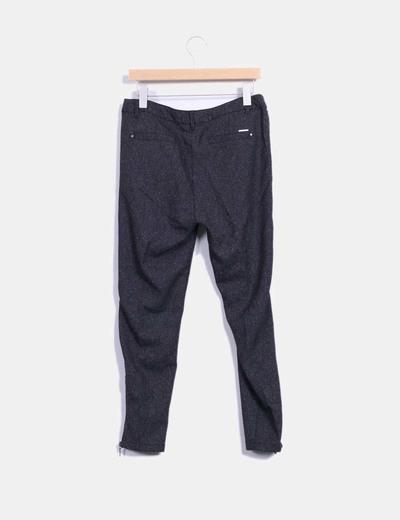 Pantalon jaspeado gris oscuro