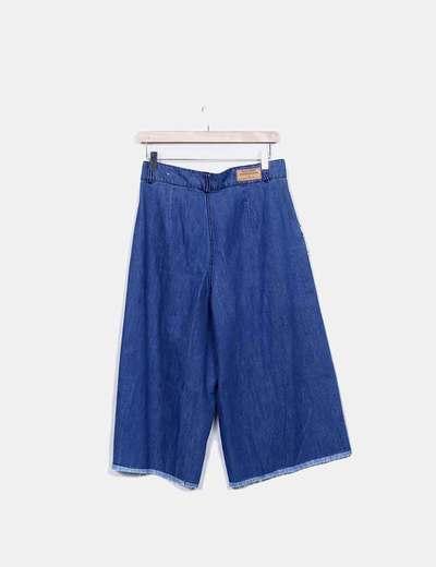 Pantalon denim culotte desflecado