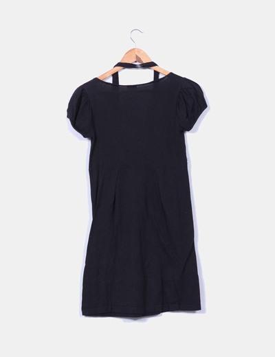 Vestido negro de punto fino