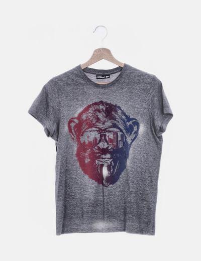 Camiseta gris print mono