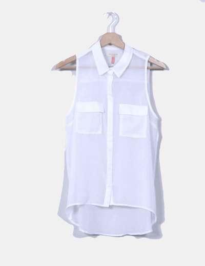 Blusa blanca sin mangas transparente Bershka