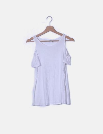 Camiseta manga corta blanca con hombro descubierto