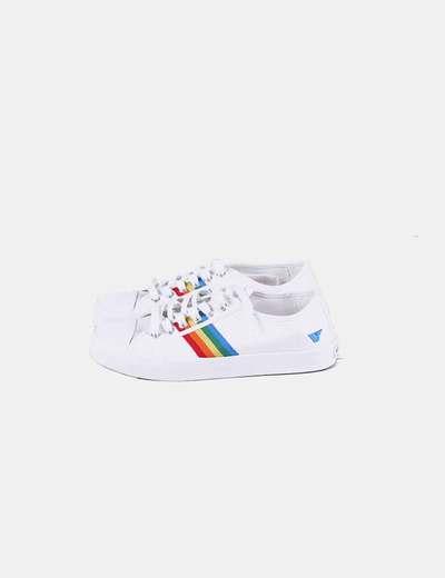 Bambas blancas print arco iris