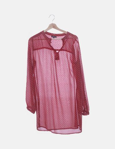 Blusón de gasa transparente rojo print