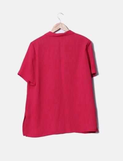 Conjunto de blusa y falda roja