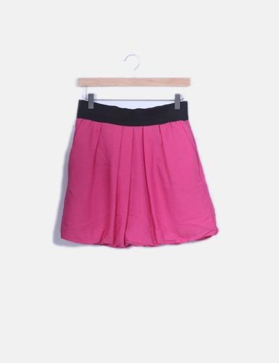 Falda rosa con cintura elastica