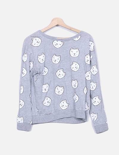 Camisola de gatos de estampado cinza H&M
