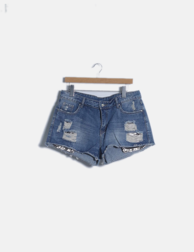 Short denim ripped con paillettes