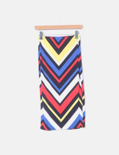 Falda midi elástica multicolor K TOO