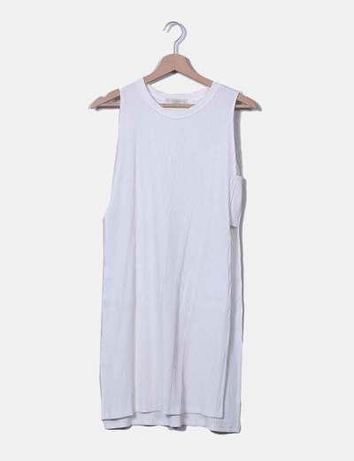 Vestido midi blanco canalé con aberturas laterales Pull&Bear