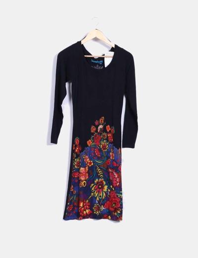 Vestido tricot negro con print Desigual