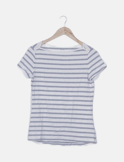 Camiseta blanca detalle rayas