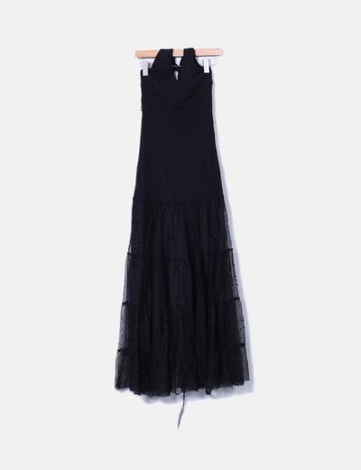 Vestido maxi combinado cuello halter NoName