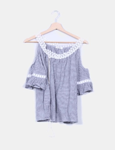 Camisa de rayas mangas campana Kilibbi