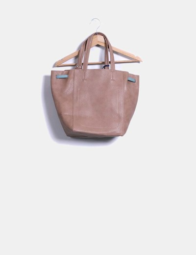 Bolso shopper marron texturizado