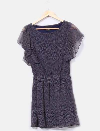 Robe bleu marine en tissu imprimé Ichi