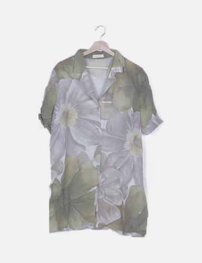Vestido camisero semitransparente estampado combinado