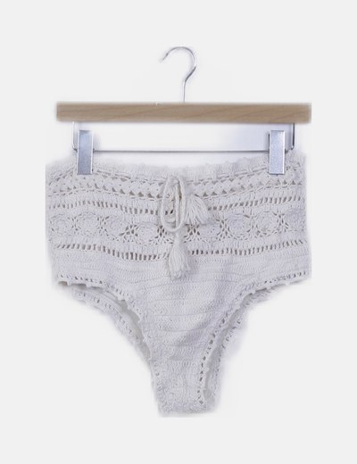 Braga de bikini beige crochet