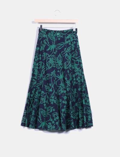 Maxi falda azul marino floral